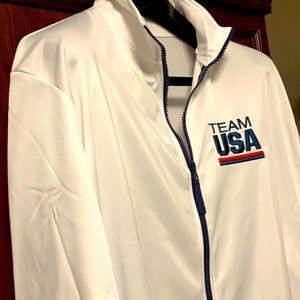 Rare TEAM USA Olympics Zip Up White Jersey Jacket!